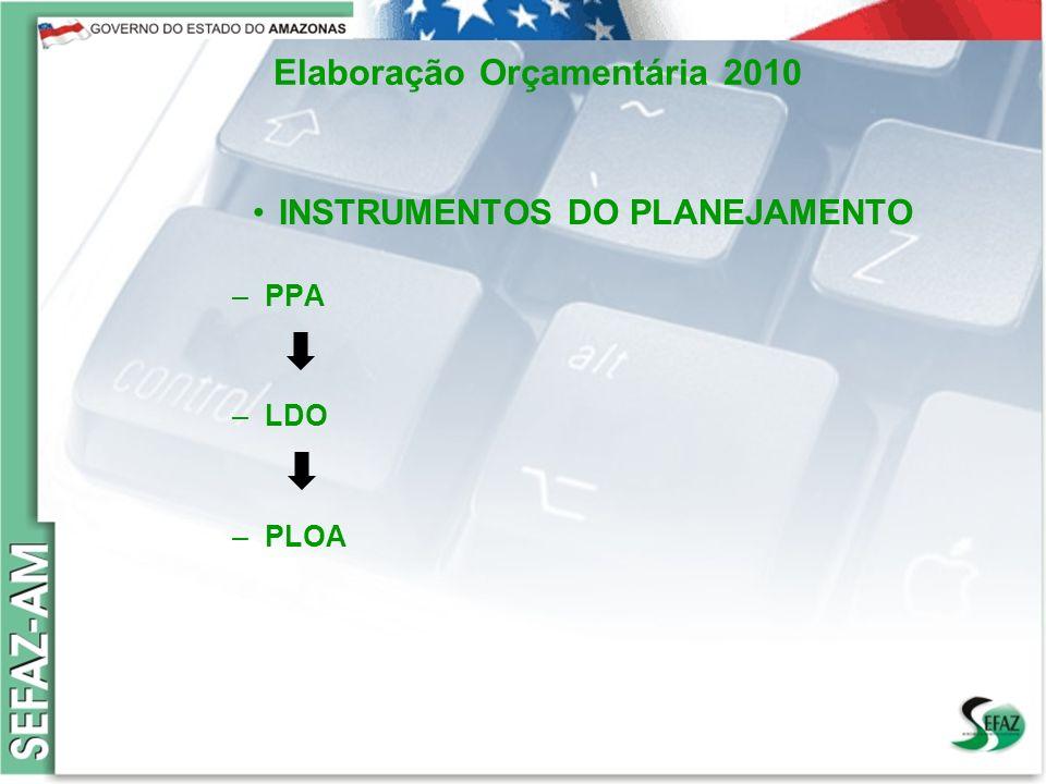 6 Governo do Estado do Amazonas Secretaria de Estado da Fazenda – SEFAZ Orçamento 2008 Elaboração Orçamentária 2010 Lei de Diretrizes Orçamentárias nº3.422 de 07/08/2009