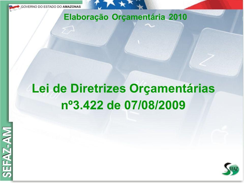 6 Governo do Estado do Amazonas Secretaria de Estado da Fazenda – SEFAZ Orçamento 2008 Elaboração Orçamentária 2010 Lei de Diretrizes Orçamentárias nº