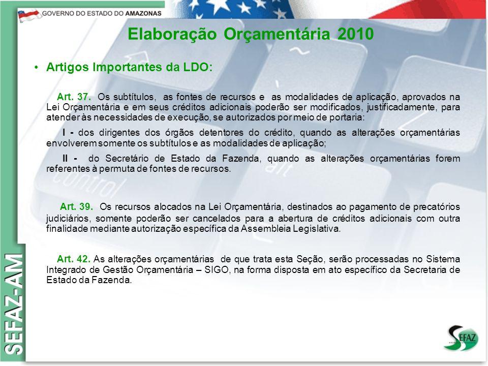 9 Governo do Estado do Amazonas Secretaria de Estado da Fazenda – SEFAZ Orçamento 2008 Elaboração Orçamentária 2010 Artigos Importantes da LDO: Art. 3