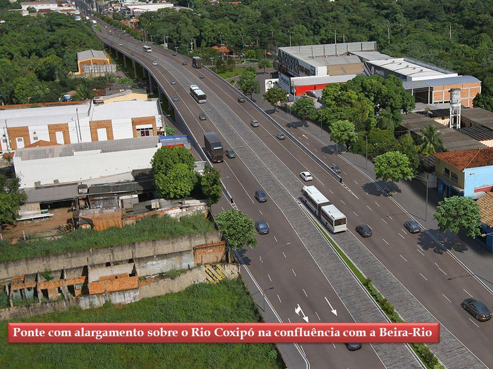 Ponte com alargamento sobre o Rio Coxipó na confluência com a Beira-Rio