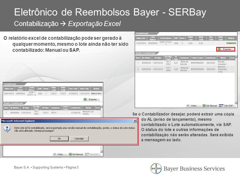 Bayer S.A. Supporting Systems Página 5 Eletrônico de Reembolsos Bayer - SERBay Contabilização Exportação Excel O relatório excel de contabilização pod