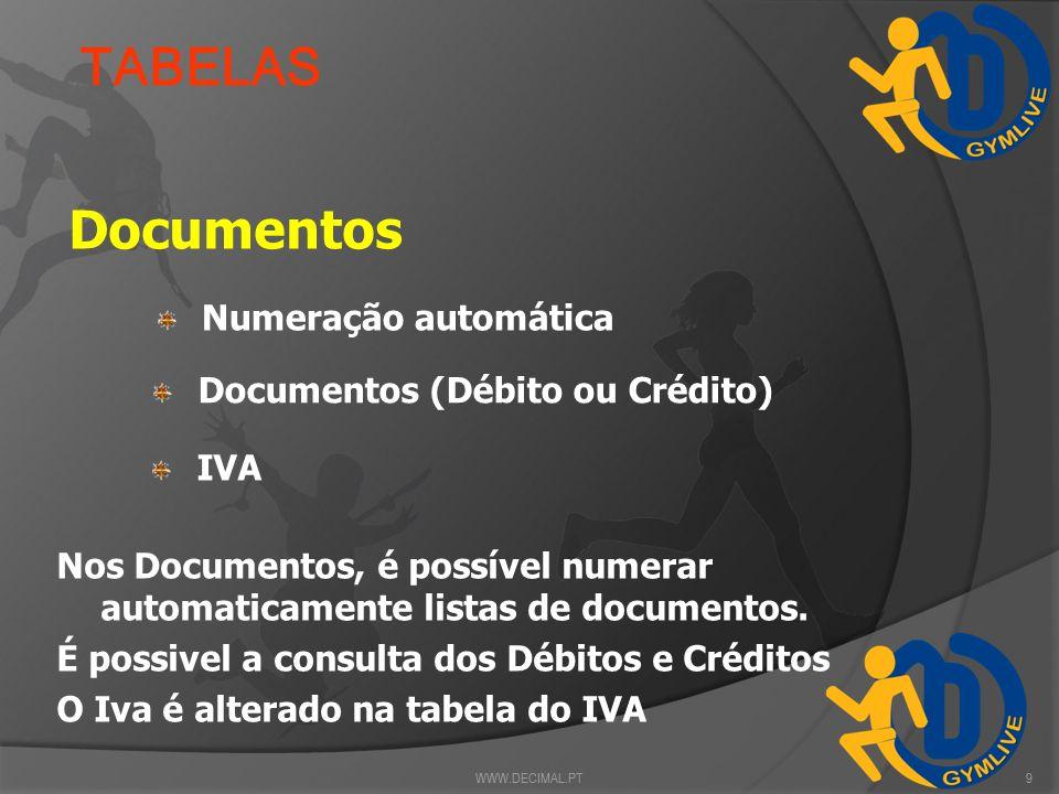 Possibilidade de criação de salas Salas TABELAS Turmas Ficha Listagem Listagem de alunos / dias WWW.DECIMAL.PT8 Nas turmas é possível programar para c