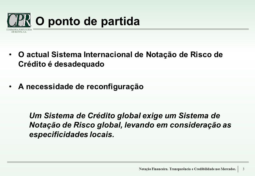 COMPANHIA PORTUGUESA DE RATING, S.A. O ponto de partida O actual Sistema Internacional de Notação de Risco de Crédito é desadequado A necessidade de r