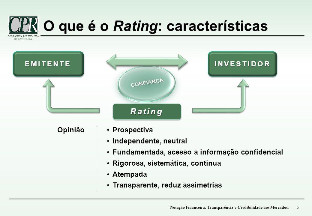 COMPANHIA PORTUGUESA DE RATING, S.A. O que é o Rating: características 5Notação Financeira. Transparência e Credibilidade nos Mercados. EMITENTEEMITEN
