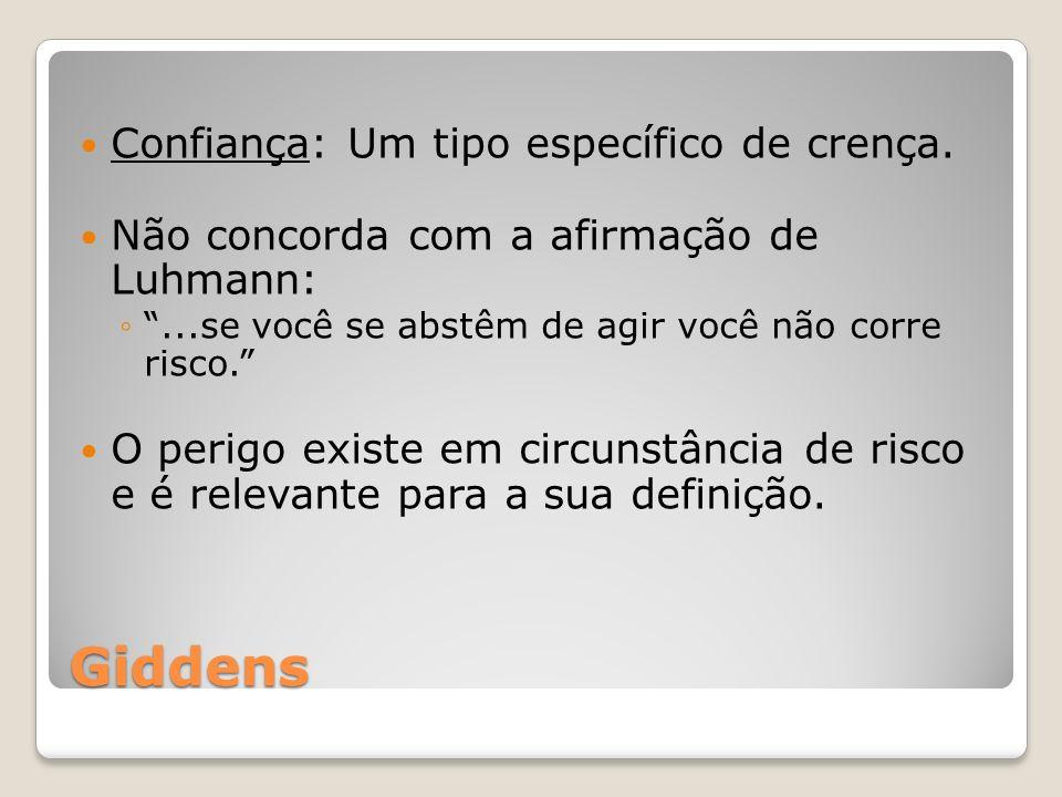 Giddens Confiança: Um tipo específico de crença. Não concorda com a afirmação de Luhmann:...se você se abstêm de agir você não corre risco. O perigo e