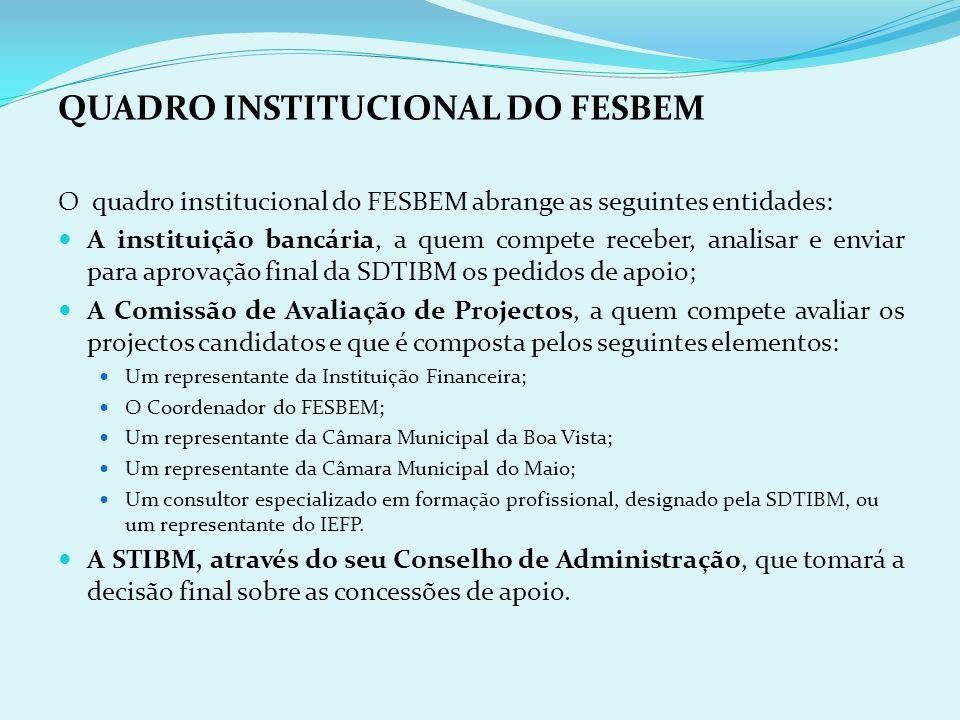 A PRESENTAÇÃO DAS CANDIDATURAS Os pedidos de candidatura serão apresentados, em formulário próprio, nos balcões do banco seleccionado na Boa Vista e n