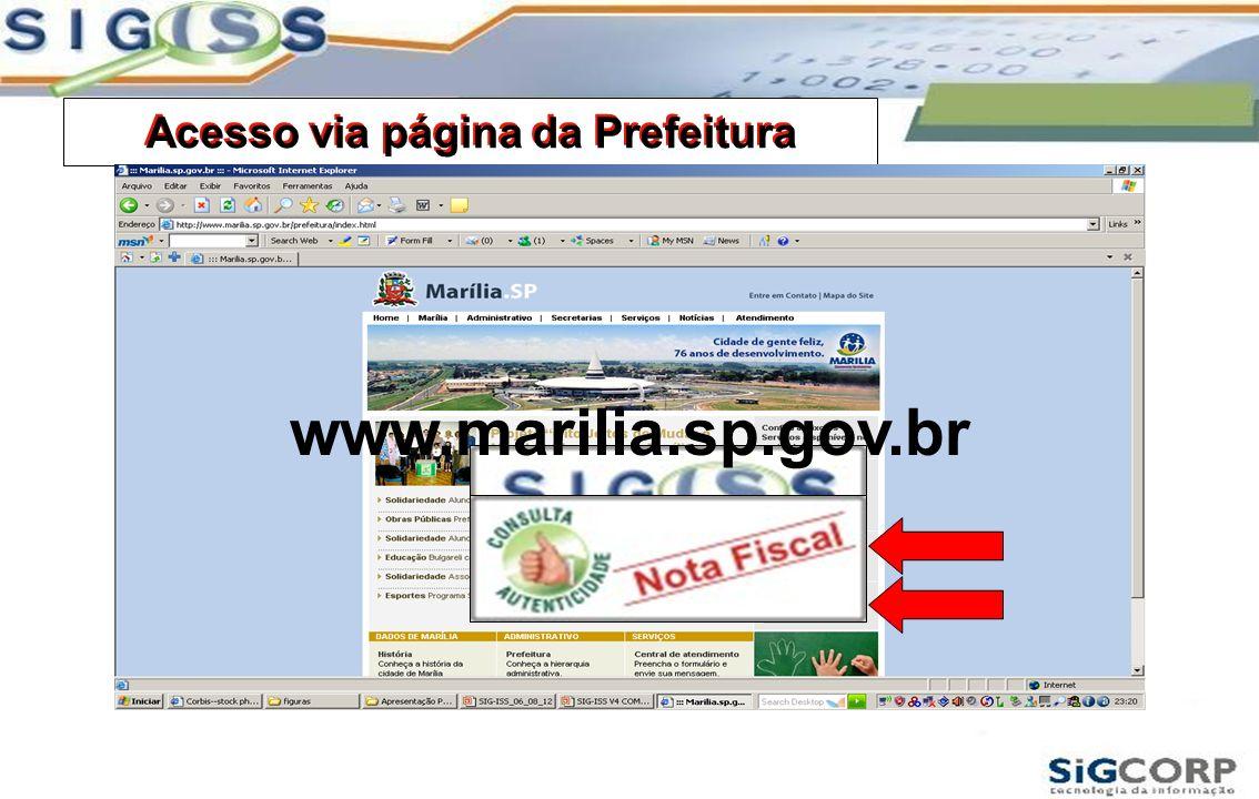 Acesso via página da Prefeitura www.marilia.sp.gov.br