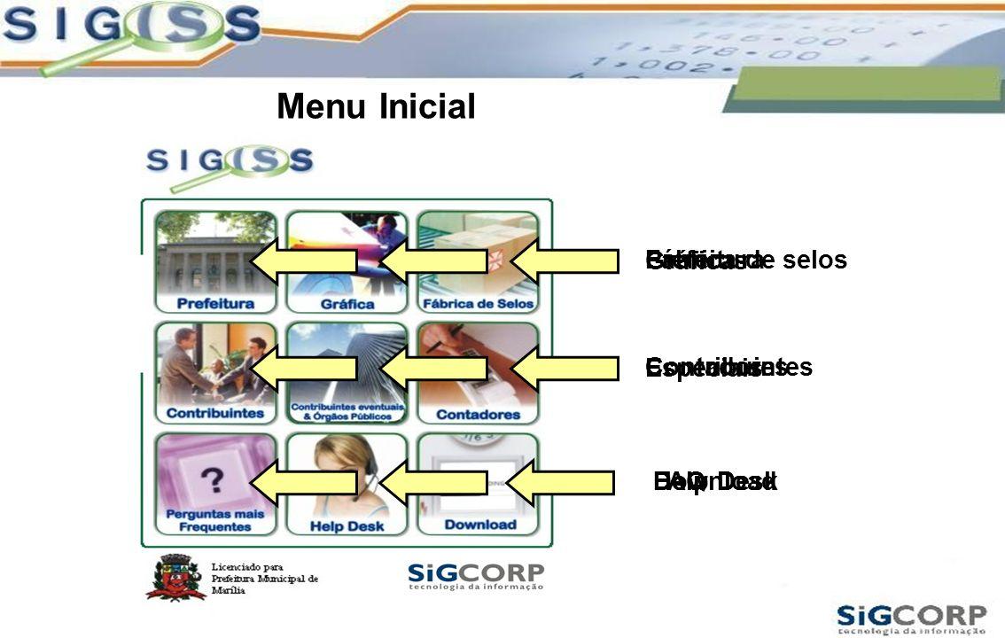 Prefeitura Gráficas Fábrica de selos Contribuintes Especiais Contadores FAQHelp Desk Download