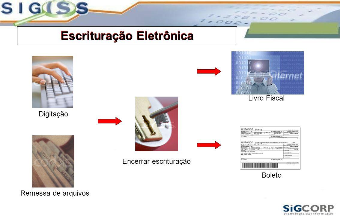 Escrituração Eletrônica Remessa de arquivos Digitação Encerrar escrituração Boleto Livro Fiscal