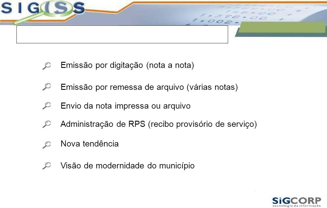 Nota Fiscal Eletrônica Emissão por digitação (nota a nota) Emissão por remessa de arquivo (várias notas) Envio da nota impressa ou arquivo Administraç