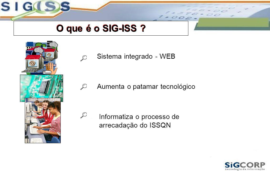 O que é o SIG-ISS ? Sistema integrado - WEB O que é o SIG-ISS ? Aumenta o patamar tecnológico Informatiza o processo de arrecadação do ISSQN