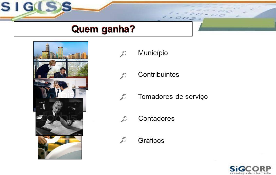 Quem ganha? Contribuintes Município Gráficos Tomadores de serviço Contadores