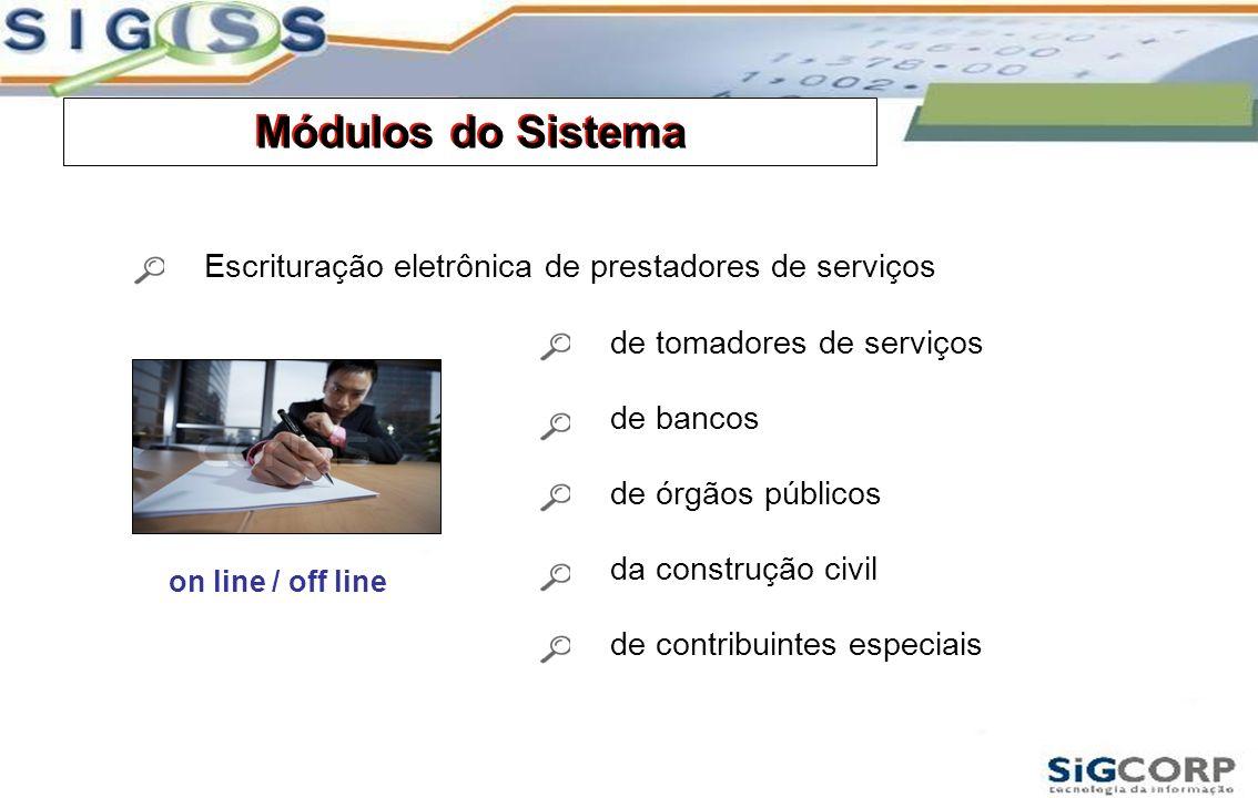 Módulos do Sistema Escrituração eletrônica de prestadores de serviços de tomadores de serviços de bancos de órgãos públicos da construção civil de con