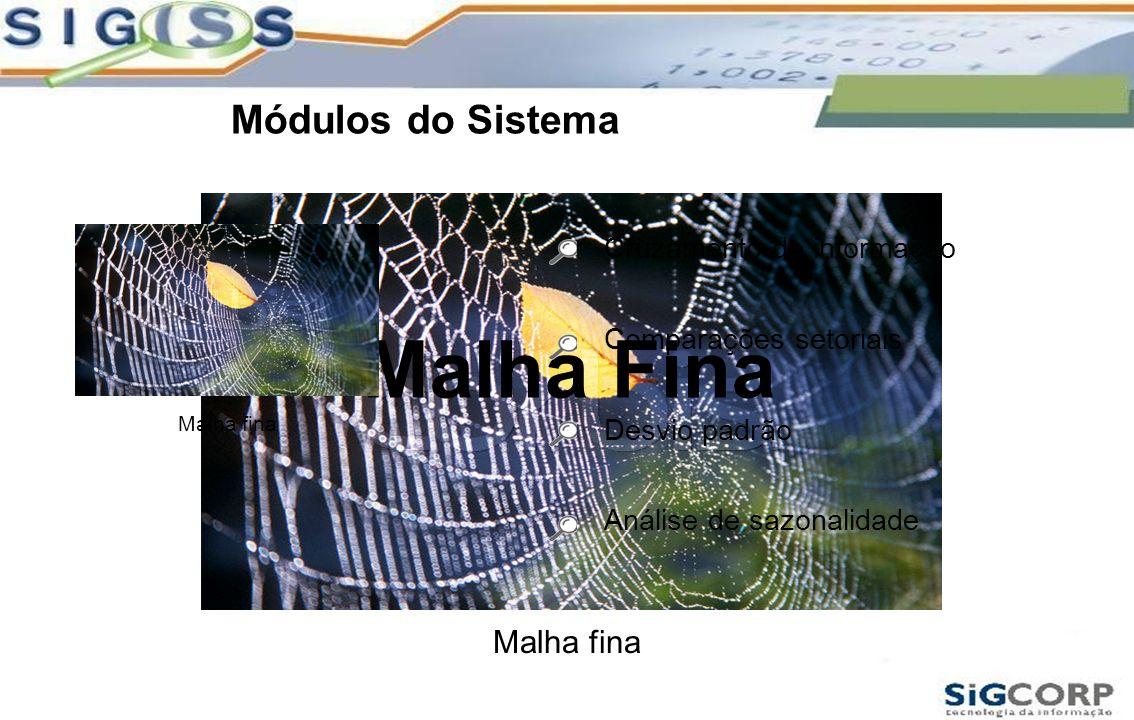 Módulos do Sistema Malha fina Malha Fina Cruzamento de informação Comparações setoriais Desvio padrão Análise de sazonalidade Malha fina