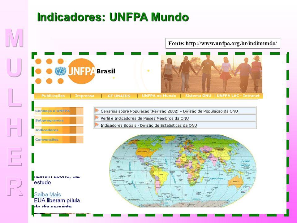 Indicadores: UNFPA Brasil Fonte: http://www.unfpa.org.br/indibrasil.htm