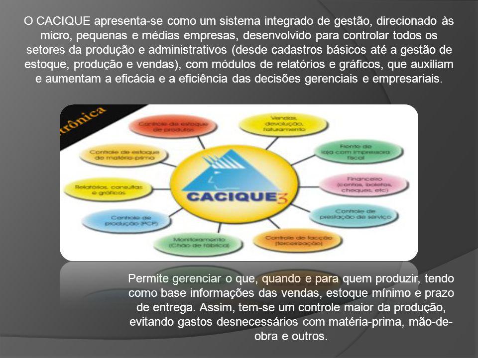 O CACIQUE apresenta-se como um sistema integrado de gestão, direcionado às micro, pequenas e médias empresas, desenvolvido para controlar todos os set