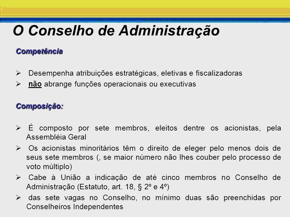 O Conselho de Administração Competência Desempenha atribuições estratégicas, eletivas e fiscalizadoras não abrange funções operacionais ou executivasC