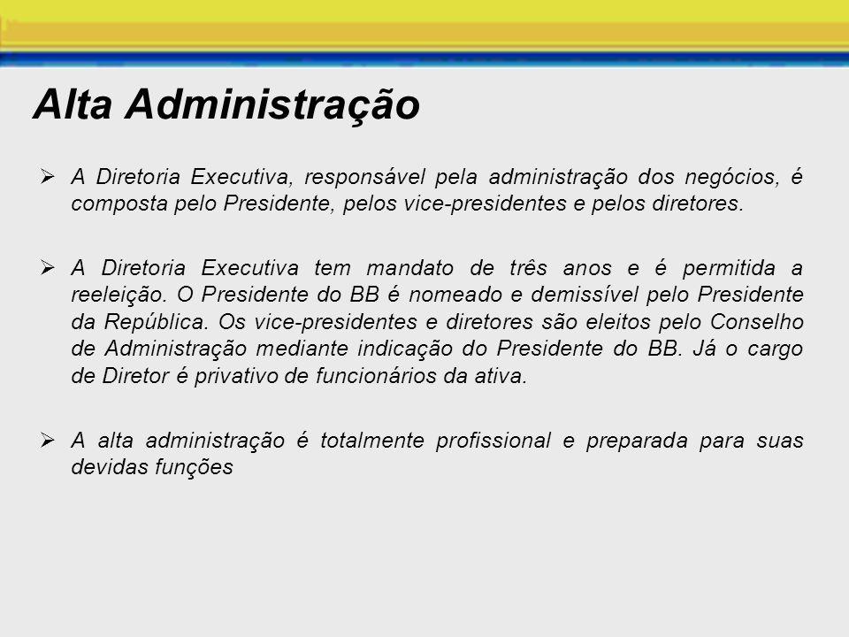 Alta Administração A Diretoria Executiva, responsável pela administração dos negócios, é composta pelo Presidente, pelos vice-presidentes e pelos dire
