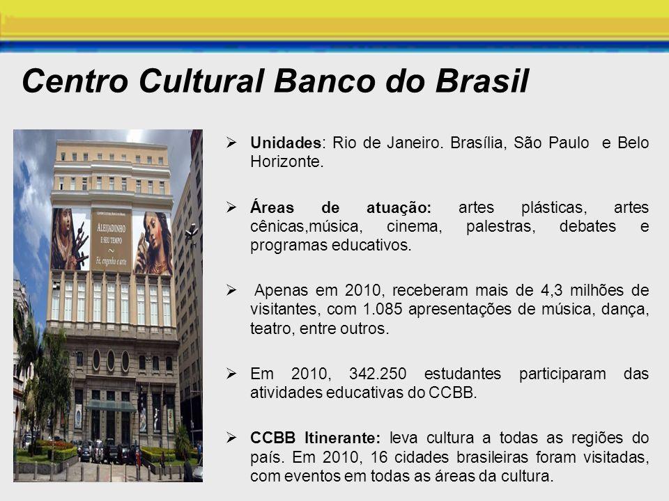 Centro Cultural Banco do Brasil Unidades: Rio de Janeiro. Brasília, São Paulo e Belo Horizonte. Áreas de atuação: artes plásticas, artes cênicas,músic