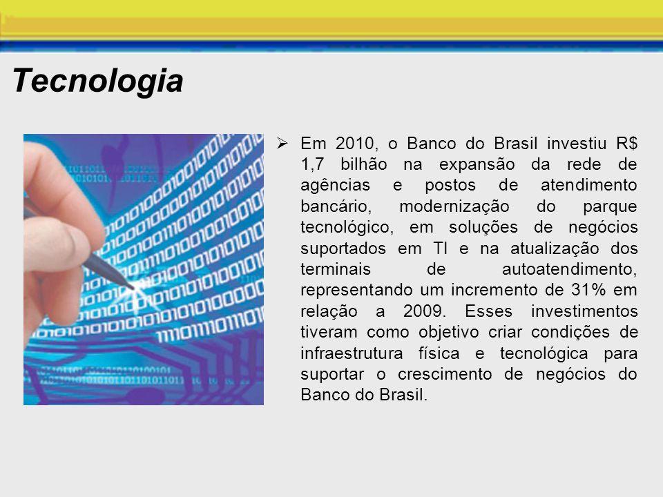 Tecnologia Em 2010, o Banco do Brasil investiu R$ 1,7 bilhão na expansão da rede de agências e postos de atendimento bancário, modernização do parque