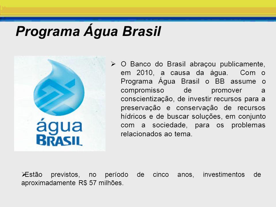 Programa Água Brasil O Banco do Brasil abraçou publicamente, em 2010, a causa da água. Com o Programa Água Brasil o BB assume o compromisso de promove