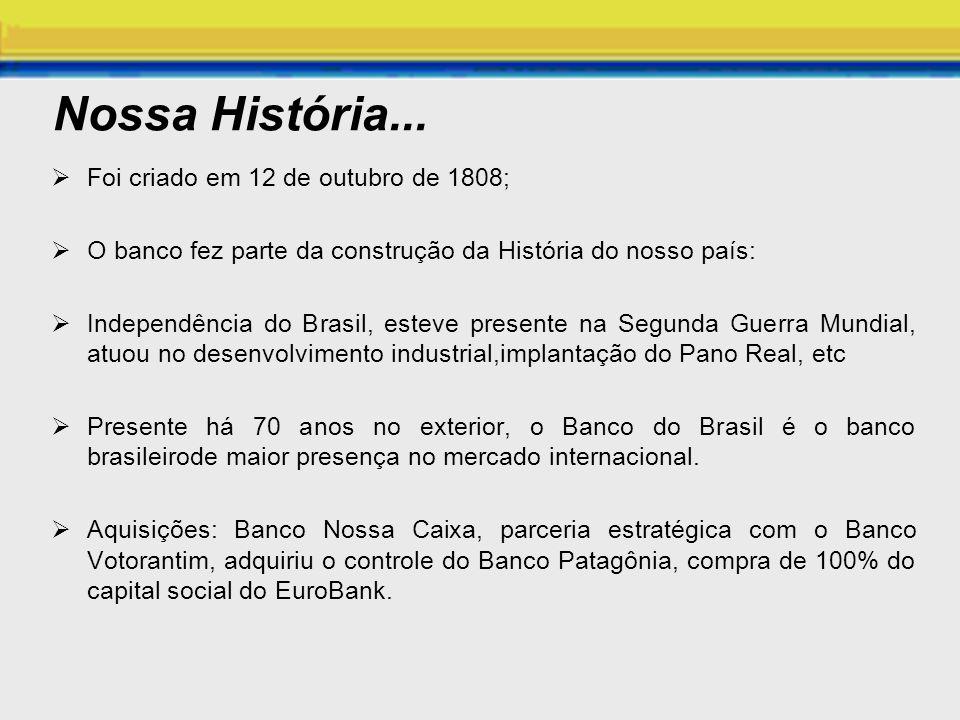 Nossa História... Foi criado em 12 de outubro de 1808; O banco fez parte da construção da História do nosso país: Independência do Brasil, esteve pres