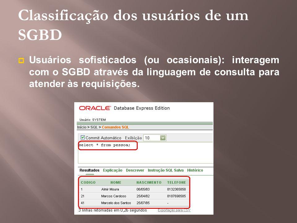 Classificação dos usuários de um SGBD Usuários sofisticados (ou ocasionais): interagem com o SGBD através da linguagem de consulta para atender às req