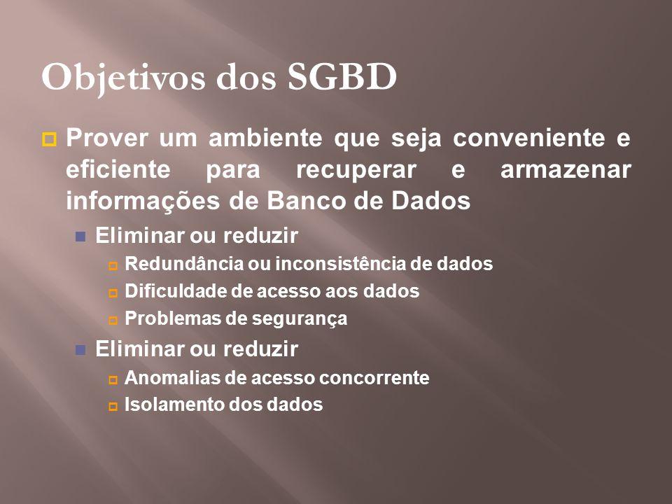 Objetivos dos SGBD Prover um ambiente que seja conveniente e eficiente para recuperar e armazenar informações de Banco de Dados Eliminar ou reduzir Re