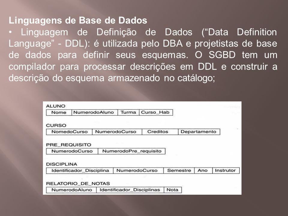 Linguagens de Base de Dados Linguagem de Definição de Dados (Data Definition Language - DDL): é utilizada pelo DBA e projetistas de base de dados para