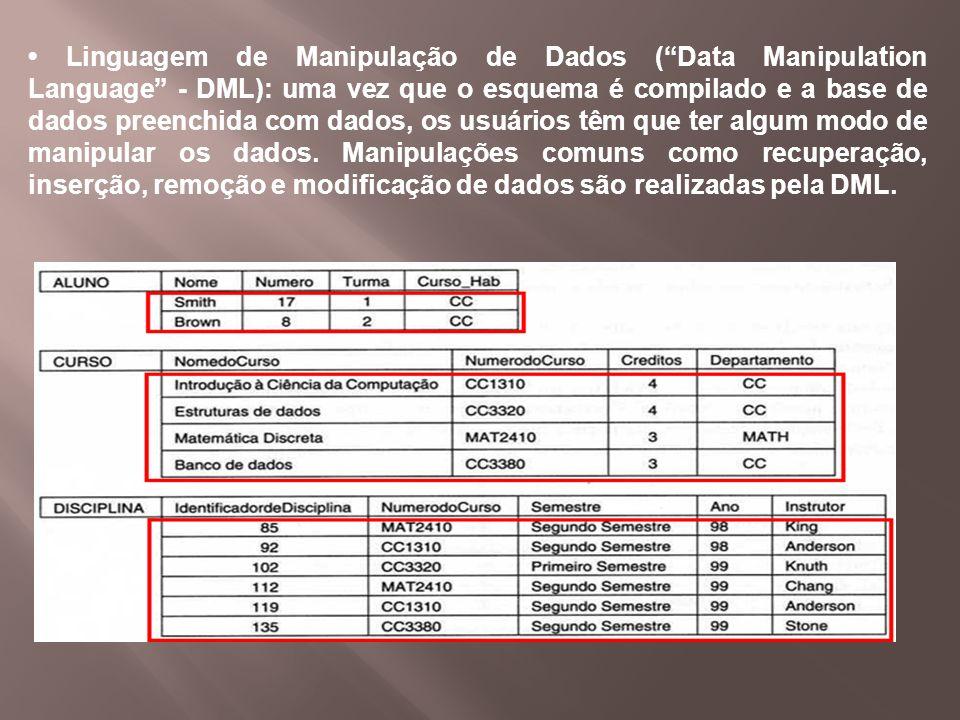 Linguagem de Manipulação de Dados (Data Manipulation Language - DML): uma vez que o esquema é compilado e a base de dados preenchida com dados, os usu