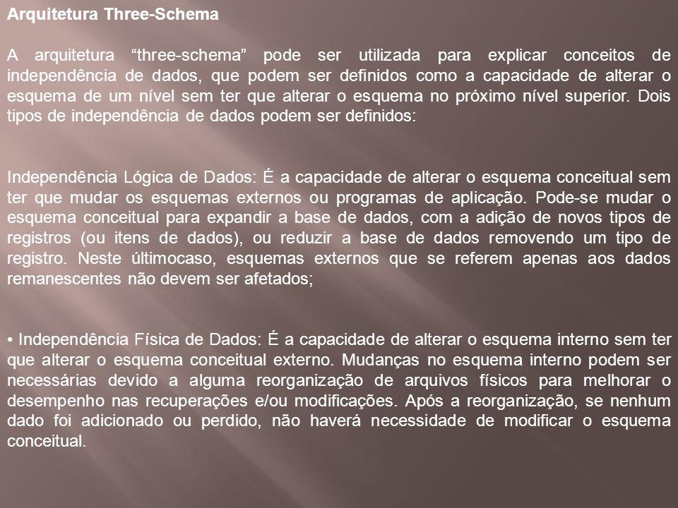 Arquitetura Three-Schema A arquitetura three-schema pode ser utilizada para explicar conceitos de independência de dados, que podem ser definidos como