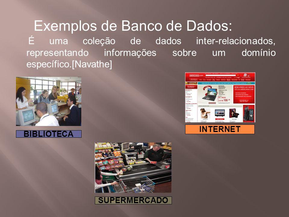 BIBLIOTECA SUPERMERCADO INTERNET Exemplos de Banco de Dados: É uma coleção de dados inter-relacionados, representando informações sobre um domínio esp