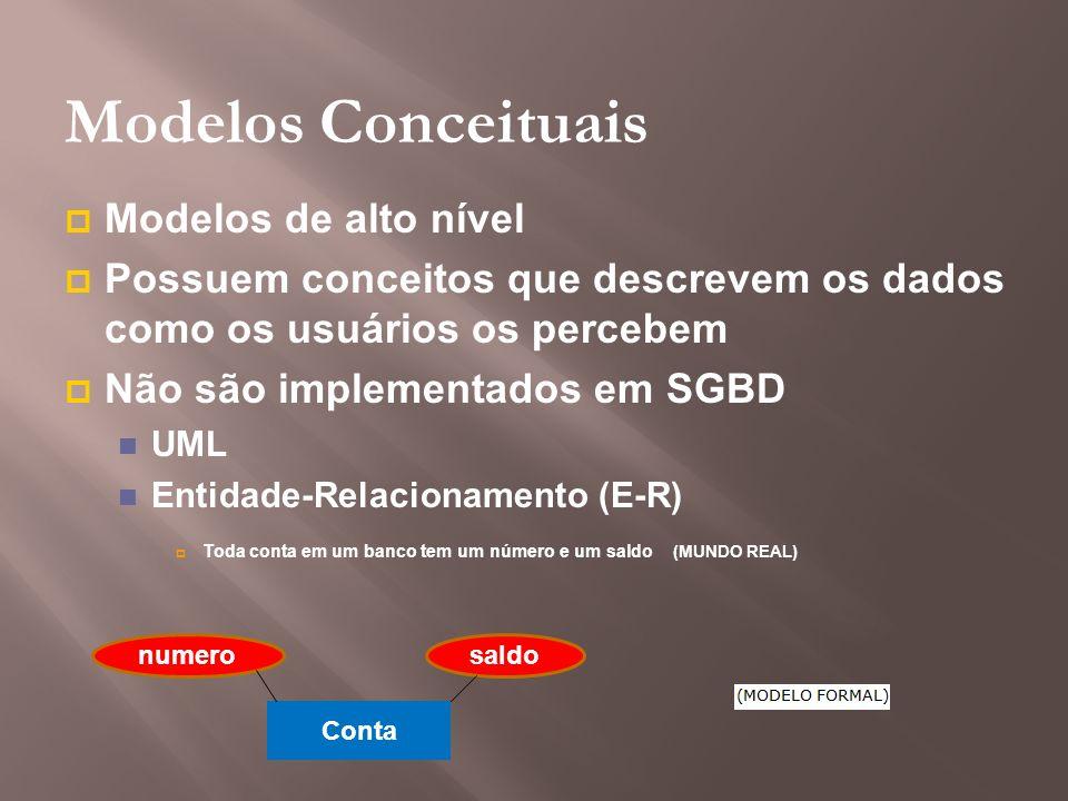 Modelos Conceituais Modelos de alto nível Possuem conceitos que descrevem os dados como os usuários os percebem Não são implementados em SGBD UML Enti