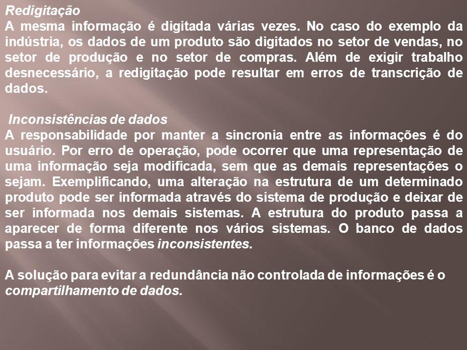 Redigitação A mesma informação é digitada várias vezes. No caso do exemplo da indústria, os dados de um produto são digitados no setor de vendas, no s