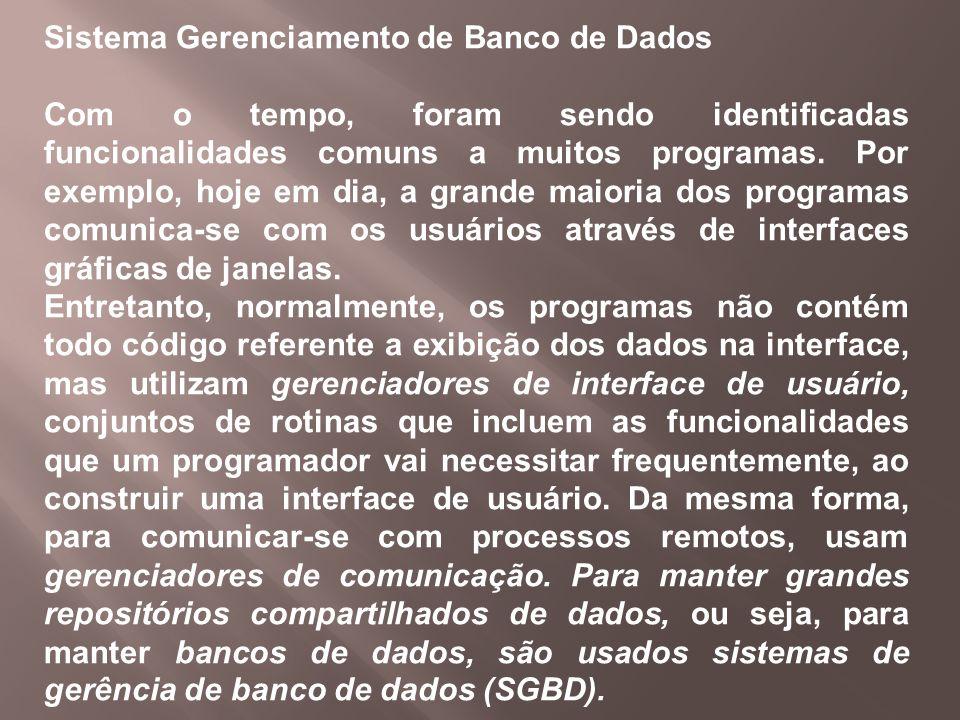Sistema Gerenciamento de Banco de Dados Com o tempo, foram sendo identificadas funcionalidades comuns a muitos programas. Por exemplo, hoje em dia, a