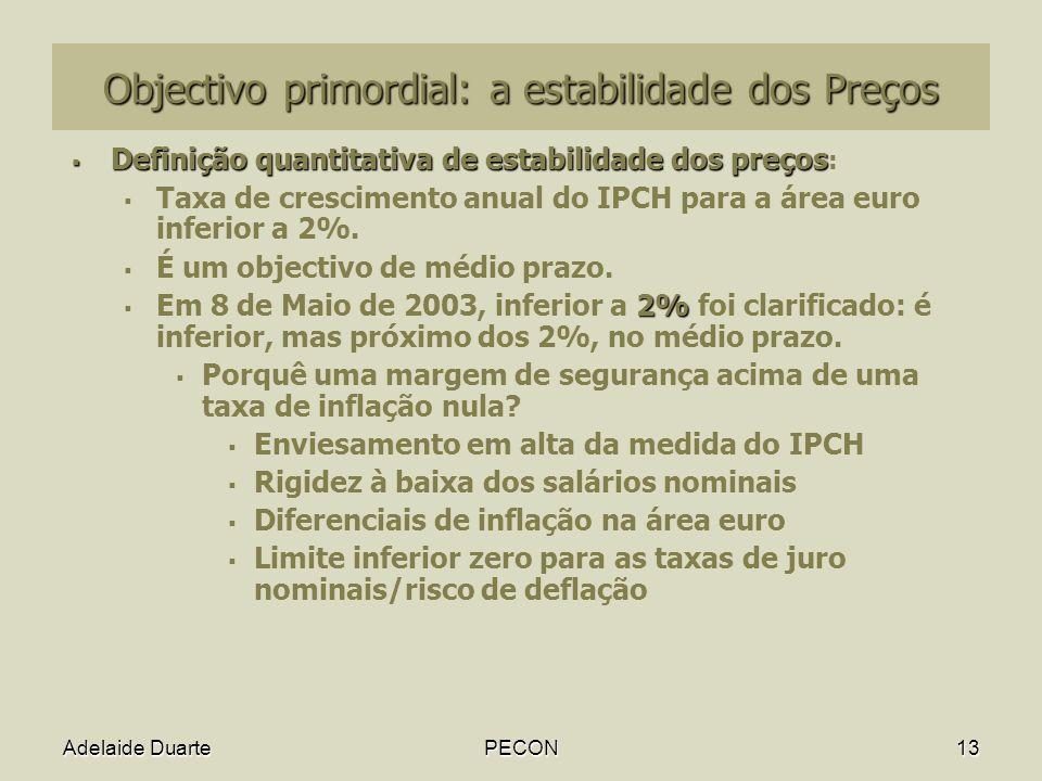 Adelaide DuartePECON13 Objectivo primordial: a estabilidade dos Preços Definição quantitativa de estabilidade dos preços Definição quantitativa de estabilidade dos preços : Taxa de crescimento anual do IPCH para a área euro inferior a 2%.