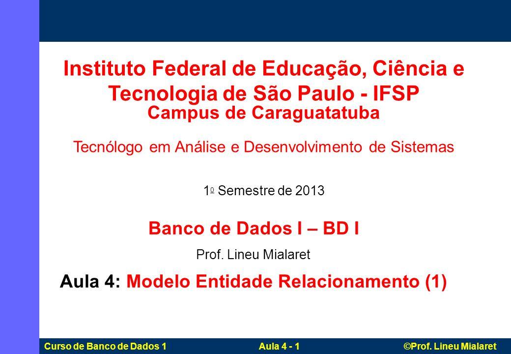 Curso de Banco de Dados 1 Aula 4 - 1 ©Prof. Lineu Mialaret Banco de Dados I – BD I Prof. Lineu Mialaret Aula 4: Modelo Entidade Relacionamento (1) Ins