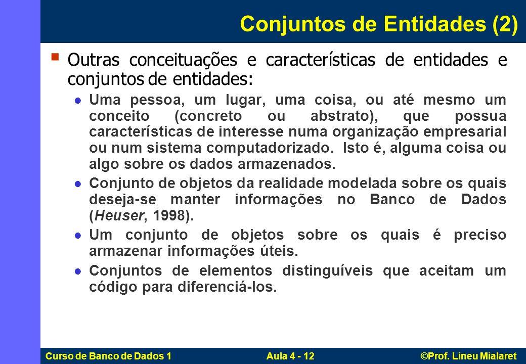 Curso de Banco de Dados 1 Aula 4 - 12 ©Prof. Lineu Mialaret Conjuntos de Entidades (2) Outras conceituações e características de entidades e conjuntos