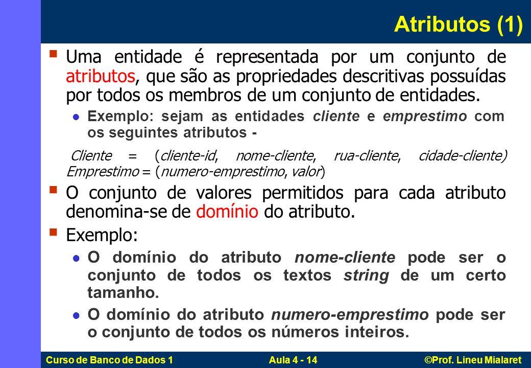 Curso de Banco de Dados 1 Aula 4 - 14 ©Prof. Lineu Mialaret Atributos (1) Uma entidade é representada por um conjunto de atributos, que são as proprie