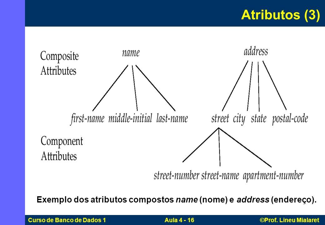 Curso de Banco de Dados 1 Aula 4 - 16 ©Prof. Lineu Mialaret Atributos (3) Exemplo dos atributos compostos name (nome) e address (endereço).