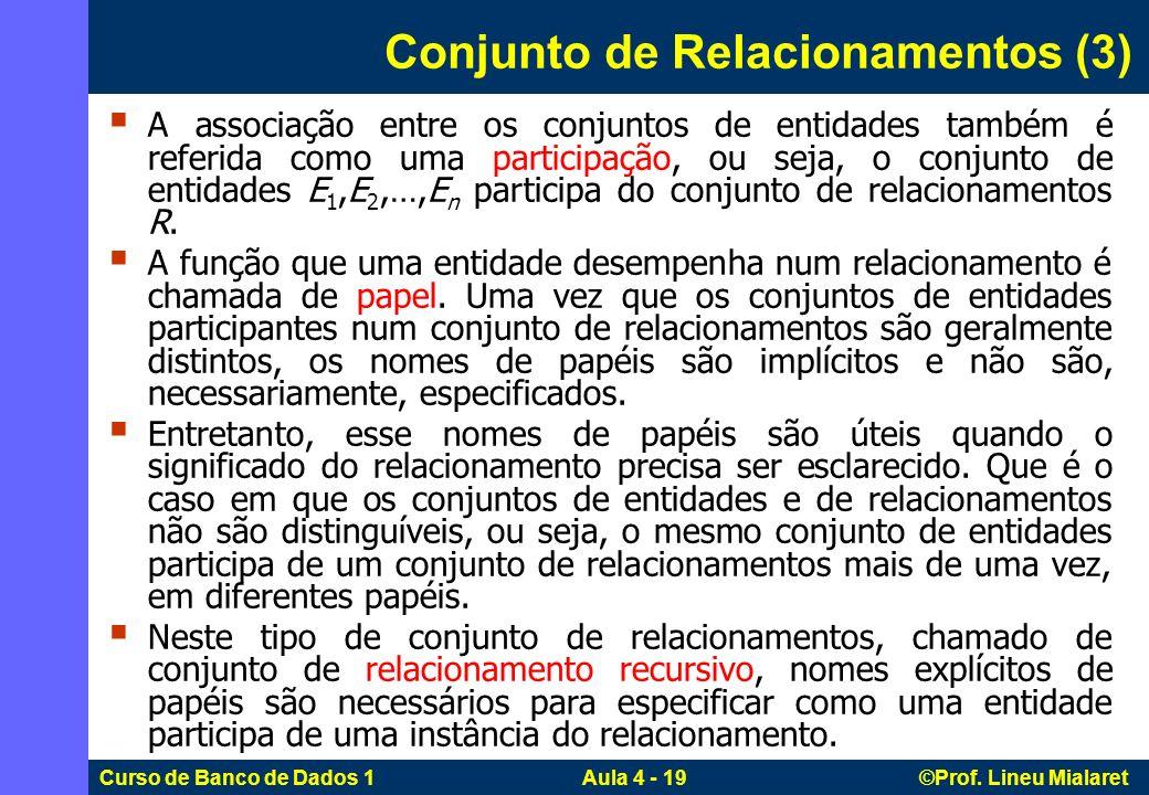 Curso de Banco de Dados 1 Aula 4 - 19 ©Prof. Lineu Mialaret Conjunto de Relacionamentos (3) A associação entre os conjuntos de entidades também é refe