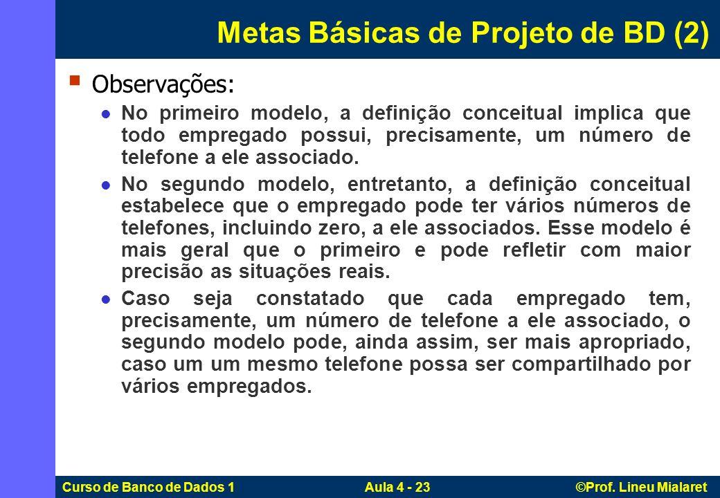 Curso de Banco de Dados 1 Aula 4 - 23 ©Prof. Lineu Mialaret Metas Básicas de Projeto de BD (2) Observações: No primeiro modelo, a definição conceitual
