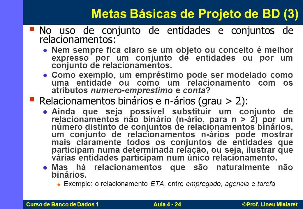 Curso de Banco de Dados 1 Aula 4 - 24 ©Prof. Lineu Mialaret No uso de conjunto de entidades e conjuntos de relacionamentos: Nem sempre fica claro se u