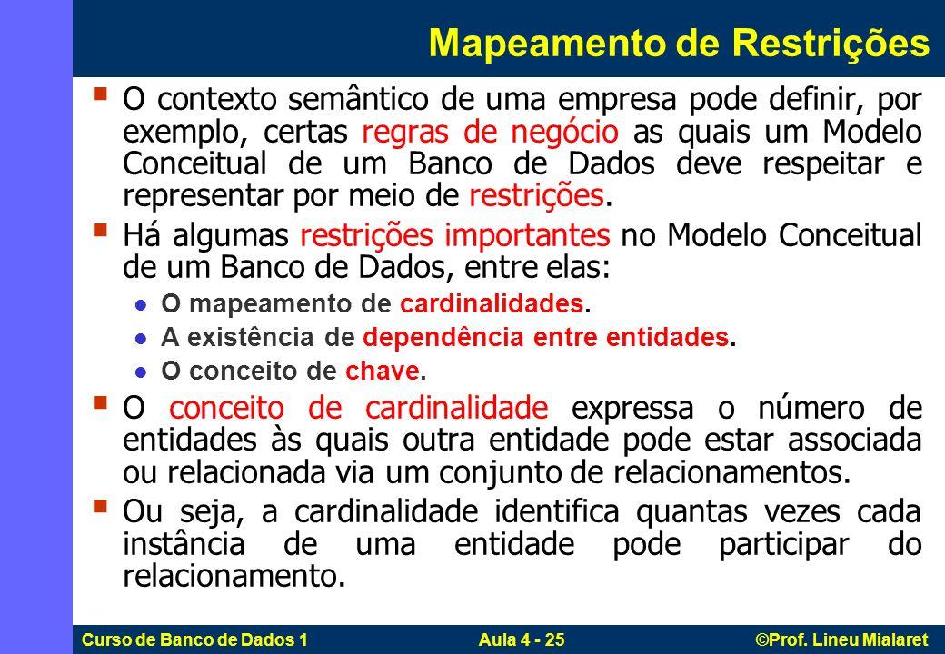 Curso de Banco de Dados 1 Aula 4 - 25 ©Prof. Lineu Mialaret Mapeamento de Restrições O contexto semântico de uma empresa pode definir, por exemplo, ce