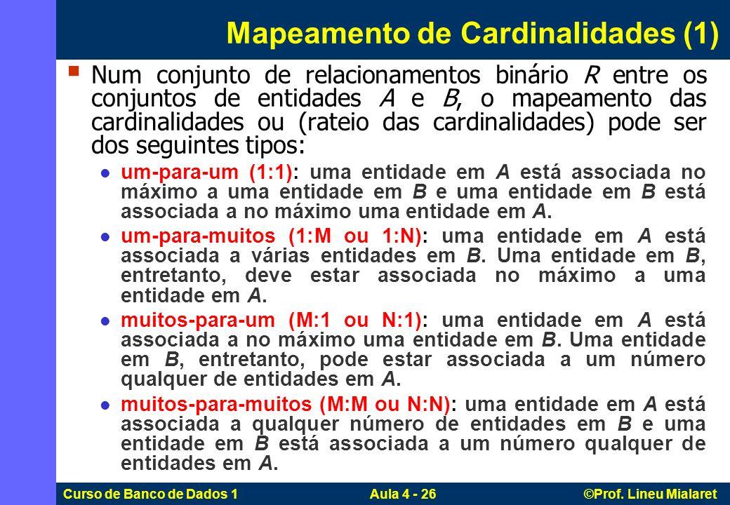 Curso de Banco de Dados 1 Aula 4 - 26 ©Prof. Lineu Mialaret Mapeamento de Cardinalidades (1) Num conjunto de relacionamentos binário R entre os conjun