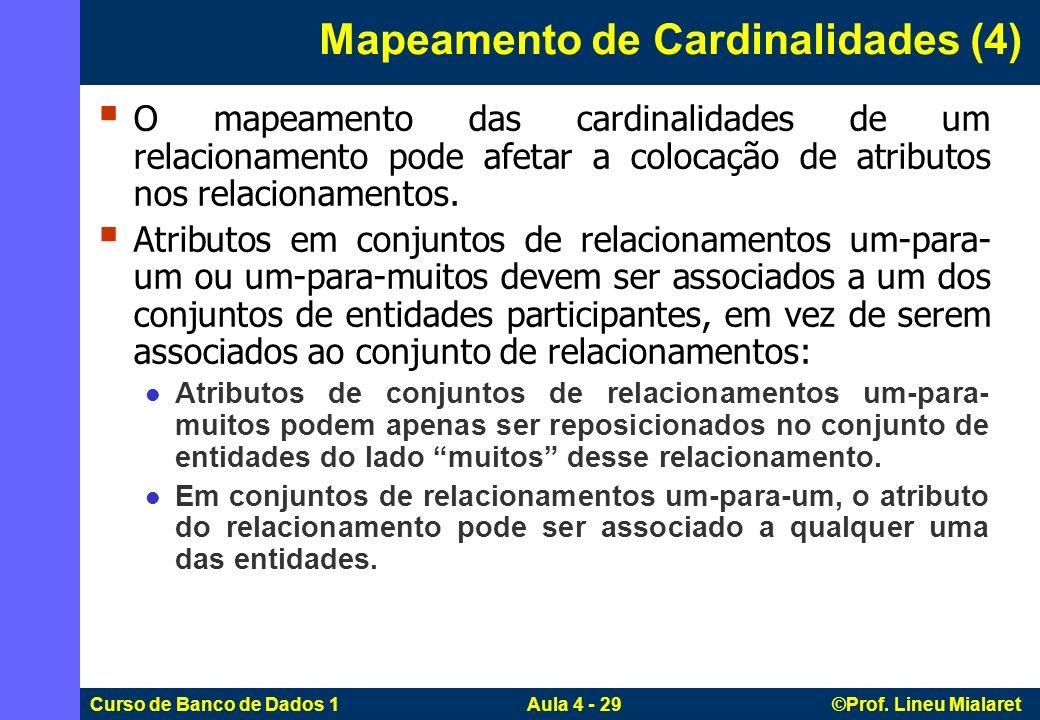 Curso de Banco de Dados 1 Aula 4 - 29 ©Prof. Lineu Mialaret O mapeamento das cardinalidades de um relacionamento pode afetar a colocação de atributos