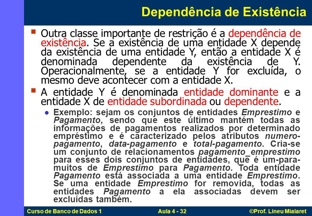 Curso de Banco de Dados 1 Aula 4 - 32 ©Prof. Lineu Mialaret Outra classe importante de restrição é a dependência de existência. Se a existência de uma