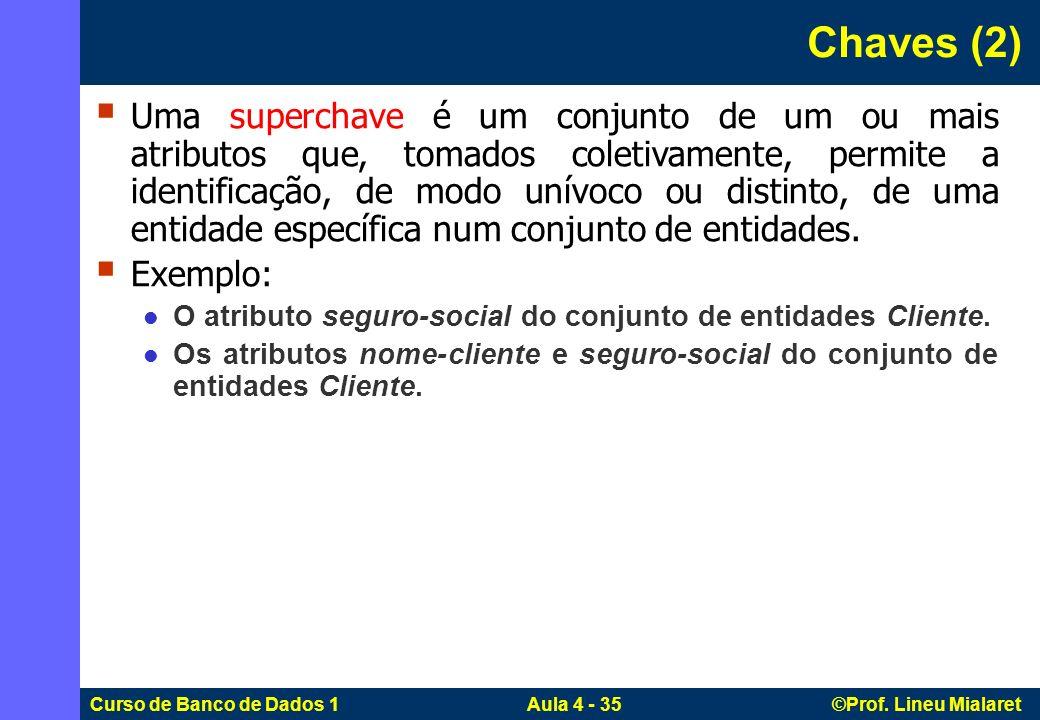 Curso de Banco de Dados 1 Aula 4 - 35 ©Prof. Lineu Mialaret Chaves (2) Uma superchave é um conjunto de um ou mais atributos que, tomados coletivamente