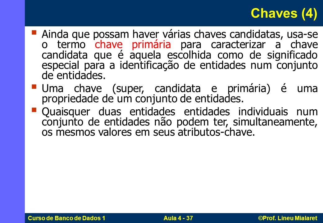 Curso de Banco de Dados 1 Aula 4 - 37 ©Prof. Lineu Mialaret Ainda que possam haver várias chaves candidatas, usa-se o termo chave primária para caract