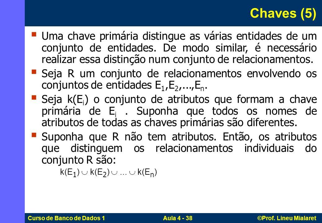 Curso de Banco de Dados 1 Aula 4 - 38 ©Prof. Lineu Mialaret Uma chave primária distingue as várias entidades de um conjunto de entidades. De modo simi